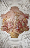 Palermo - Crucifixion scene on ceiling of side nave in church La chiesa del Gesu Royalty Free Stock Image