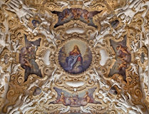 Palermo - Detail from ceiling of side nave in church La chiesa del Gesu Stock Images