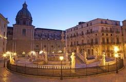 Palermo - Florentine founiain on Piazza Pretoria Royalty Free Stock Images