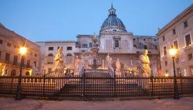 Palermo - Florentine fountain on Piazza Pretoria Royalty Free Stock Photo