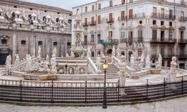 Palermo - Florentine fountain on Piazza Pretoria Royalty Free Stock Image