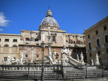 Palermo - Florentine fountain on Piazza Pretoria in morning Royalty Free Stock Photography