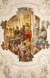 Palermo - Fresco of Jesus for Pilatus scene on ceiling of side nave in church La chiesa del Gesu Stock Photo
