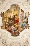 Palermo - fresk Jezus dla Pilatus sceny na suficie boczny nave w kościelnym losu angeles chiesa Del Gesu Zdjęcie Stock