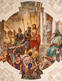 Palermo - Fresko von Jesus für Pilatus-Szene auf Decke des Seitenkirchenschiffs in Kirche La chiesa Del Gesu Lizenzfreies Stockbild