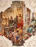 Palermo - freskomålning av Jesus för den Pilatus platsen på tak av sidoskeppet i den kyrkliga Lachiesaen del Gesu Royaltyfri Bild