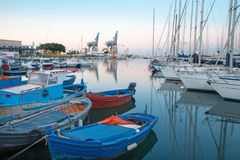 Palermo - Harbor in dusk. And little yachts Royalty Free Stock Images