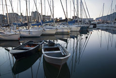 Palermo - Harbor in dusk. Palermo - yachts in harbor in dusk Royalty Free Stock Photos