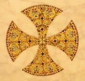 Palermo - incrocio del mosaico dall'altare nella tomba sotto la cattedrale Immagini Stock Libere da Diritti