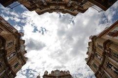 Palermo, Italië, Sicilië 24 Augustus 2015 Quattro Canti, of piazza Villena Stock Fotografie