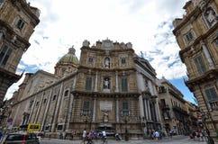 Palermo, Italië, Sicilië 24 Augustus 2015 Quattro Canti, of piazza Villena Royalty-vrije Stock Afbeeldingen