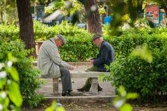 PALERMO ITALIEN - Oktober 14, 2009: Gamla människor som spelar kort Fotografering för Bildbyråer