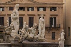 PALERMO, ITALY–03 January 2017: One of the main attractions of city - Praetorian Fountain Fontana Pretoria Royalty Free Stock Image
