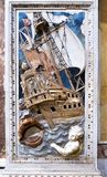 Marble inlays of Jonah and the whale royalty free stock photography