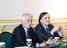 PALERMO, ITALY - April 23, 2012 - Leoluca Orlando and Francesco Giambrone in Palermo, Italy Stock Photos