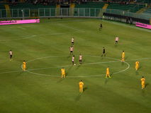 PALERMO, ITALY - August 17, 2013 - US Citta di Palermo vs Hellas Verona - TIM CUP. The two teams placed in the center circle at the time of kick-off during the stock photo