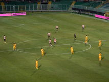 PALERMO, ITALY - August 17, 2013 - US Citta di Palermo vs Hellas Verona - TIM CUP. The two teams placed in the center circle at the time of kick-off during the royalty free stock photography