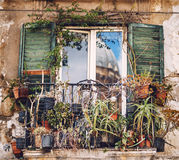 PALERMO, ITALY - JULY 17, 2016: Balcony reflecting the Palermo C Royalty Free Stock Image