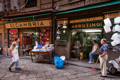 PALERMO, ITALY - October 14, 2009: Fresh fish, seafood, vegetabl Royalty Free Stock Images