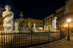PALERMO, ITALY - October 13, 2009: Marble statue of Piazza Preto Stock Photos
