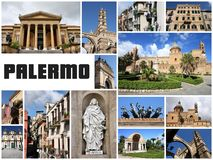 Palermo, Italy. Postcard - travel place landmark photo collage stock images