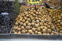 Olives sold at the market. Palermo, Italy - September 07, 2018 : Olives sold at the market in Palermo royalty free stock photo