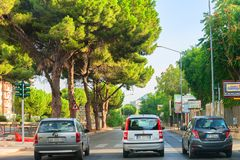 Street view on road with cars in Palermo Italy stock images