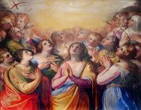 Palermo - målarfärg av tidigt kristet martyrish från sidokapell i den kyrkliga Lachiesaen del Gesu royaltyfria bilder