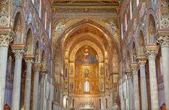 Palermo - Main nave of Monreale cathedral. Church is wonderful example of Norman architecture. Royalty Free Stock Photos