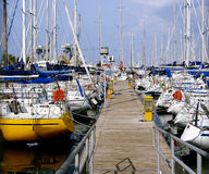 Palermo marina. Pier of marina in Palermo with colorfull yachts standing stock photos