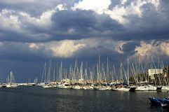 Palermo marina. View of marina in Palermo with colorfull yachts standing royalty free stock photo