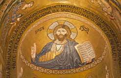 Palermo - Mosaic of Jesus Christ from Cappella Palatina - Palatine Chapel Stock Photos