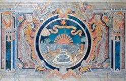 Palermo - mosaico barrocco sull'altare laterale dalla chiesa del dell Ammiraglio di Santa Maria Fotografia Stock Libera da Diritti
