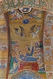 Palermo - mosaico da morte santamente de Mary no teto da igreja do dell Ammiraglio de Santa Maria imagens de stock royalty free