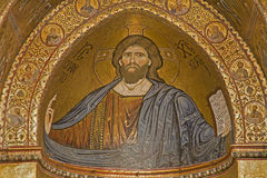 Palermo - Mosaics of main apse of Monreale cathedral  - Christ Stock Photography