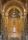 Palermo - Mosaics of main apse of Monreale cathedral. Stock Photography