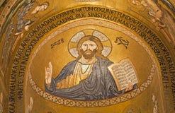 Palermo - Mozaïek van Jesus Christ van Cappella Palatina - Palatine Kapel Stock Foto's