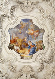 Palermo - Nativity scene on ceiling of side nave in church La chiesa del Gesu stock photo