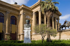 Palermo Opera. The statue of opera composer Giuseppe Verdi in the garden before the Opera of Palermo Royalty Free Stock Image