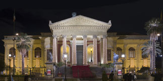 Palermo Opera House by night Stock Image