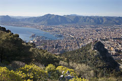 Palermo - outlook over city and harbor from mt. Pelegrino Stock Photo