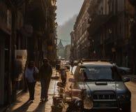 Palermo på solnedgången Sicilien Italien Arkivbild