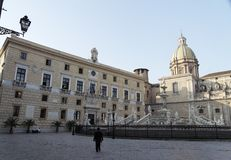 palermo piazza pretoria royaltyfri fotografi