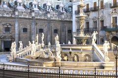 Palermo, Piazza Pretoria Royalty-vrije Stock Afbeeldingen