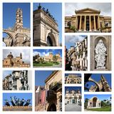 Palermo picture set. Palermo, Italy city postcard - travel place landmark picture collage stock image