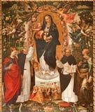 Palermo - pintura del renacimiento de Madonna con los santos de los Dominicans Foto de archivo