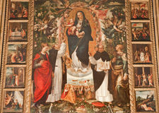 Palermo - pintura del renacimiento de Madonna con los santos de los Dominicans Fotos de archivo libres de regalías