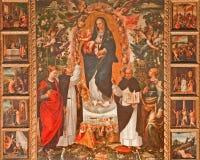 Palermo - pintura del renacimiento de Madonna (1540) por el degli Azani de Vicente en la iglesia de St Dominic Imágenes de archivo libres de regalías
