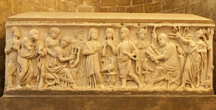 Palermo - Relief from one of the medieval tombs under cathedral Royalty Free Stock Photos
