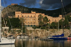Palermo's small port °° Villa Igiea Liberty building & Utveggio Castel Royalty Free Stock Image